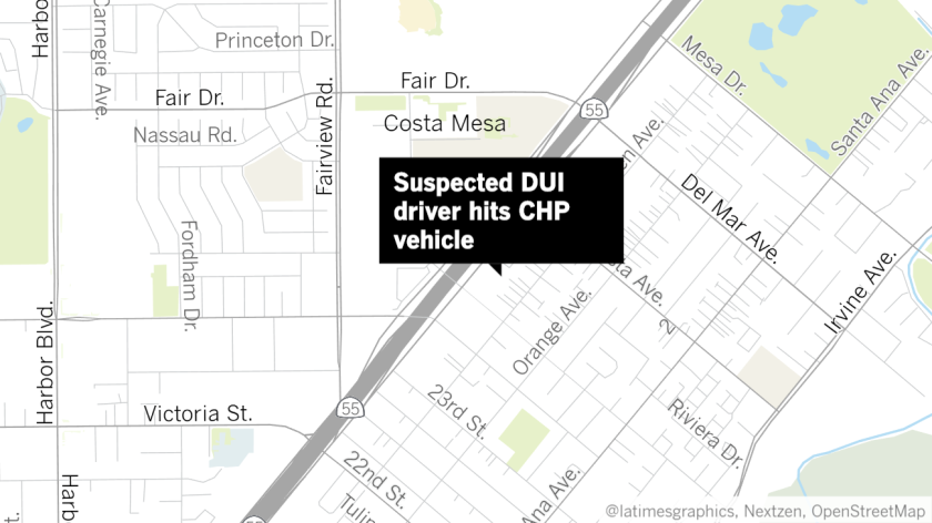 Suspected DUI driver hits CHP vehicle