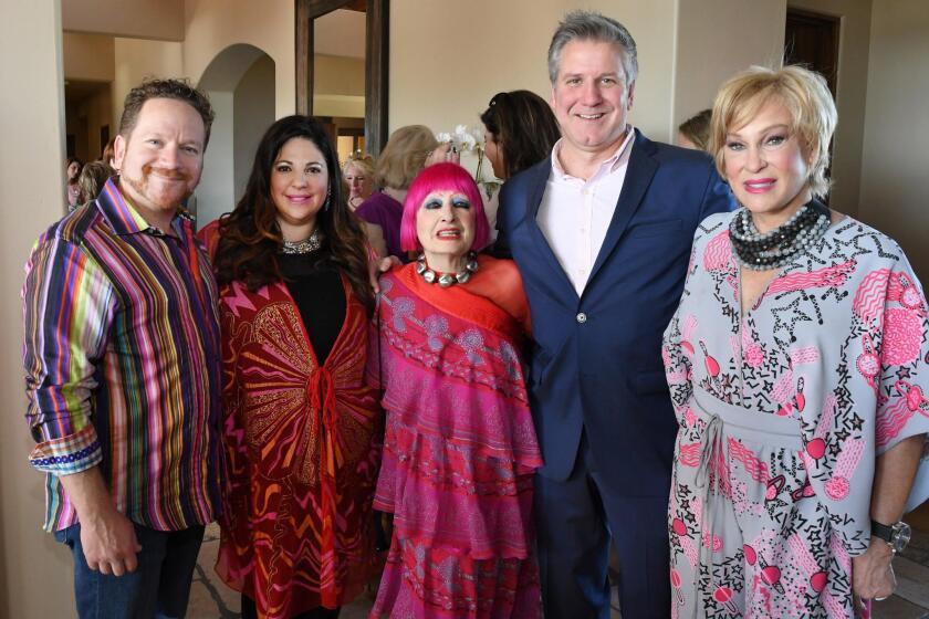 Hosts Miguel and Veronica Leff, Dame Zandra Rhodes, Opera general director David Bennett, Opera gala chair Sherry Ahern