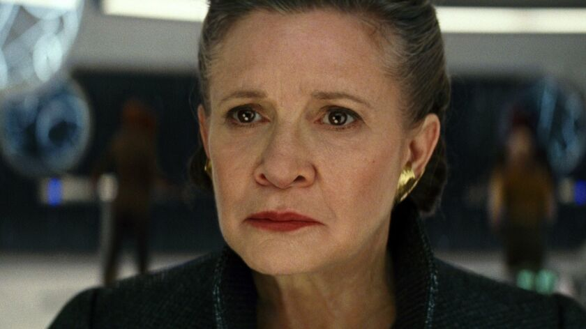 """This image released by Lucasfilm shows Carrie Fisher as General Leia in """"Star Wars: The Last Jedi,"""""""