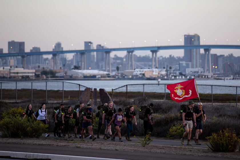 ROTC cadets participate in a 13-mile ruck march along Silver Strand State Beach