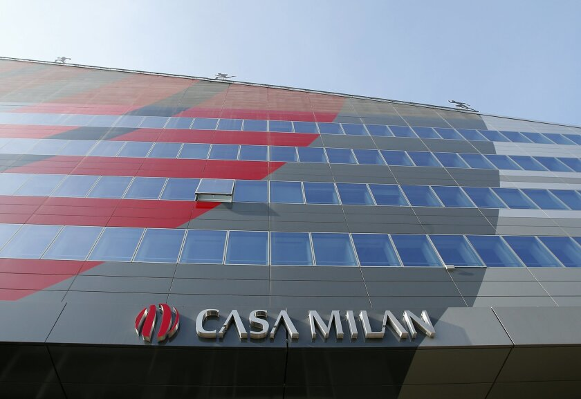 A view of the AC Milan soccer team headquarters in Milan, Italy, Tuesday, Jan. 26, 2016. Naples prosecutors have announced a sweeping investigation into allegations of falsifying player transactions to avoid as much as 12 million euros ($13 million) in taxes involving as many as 35 Serie A and Serie B teams. The news agency ANSA reported that agents were searching offices at AC Milan's headquarters. (AP Photo/Antonio Calanni)