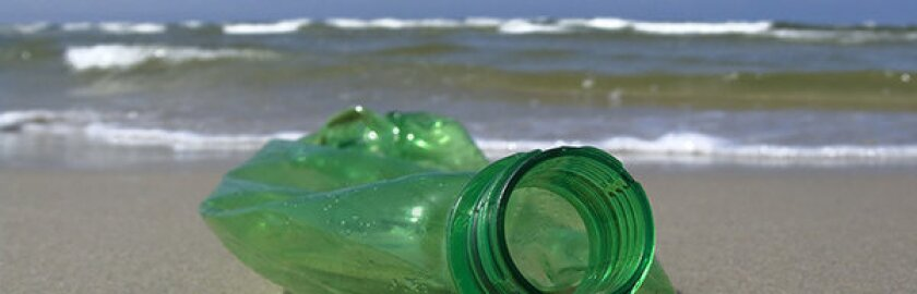 A plastic bottle on a beach. The U.S. Environmental Protection Agency's study of a remote site in the northwestern Hawaiian Islands will assess the threat posed to sensitive species by plastic debris.