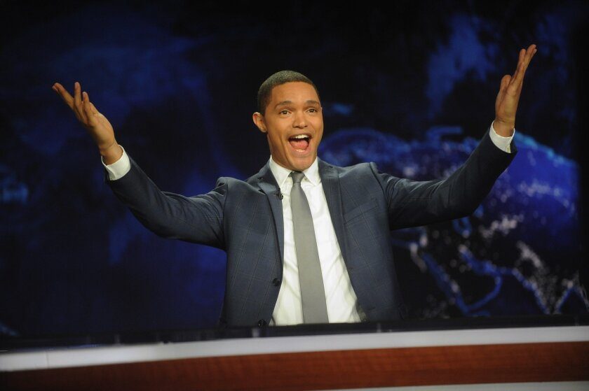 """Trevor Noah hosts Comedy Central's """"The Daily Show with Trevor Noah"""" premiere on September 28, 2015 in New York City."""