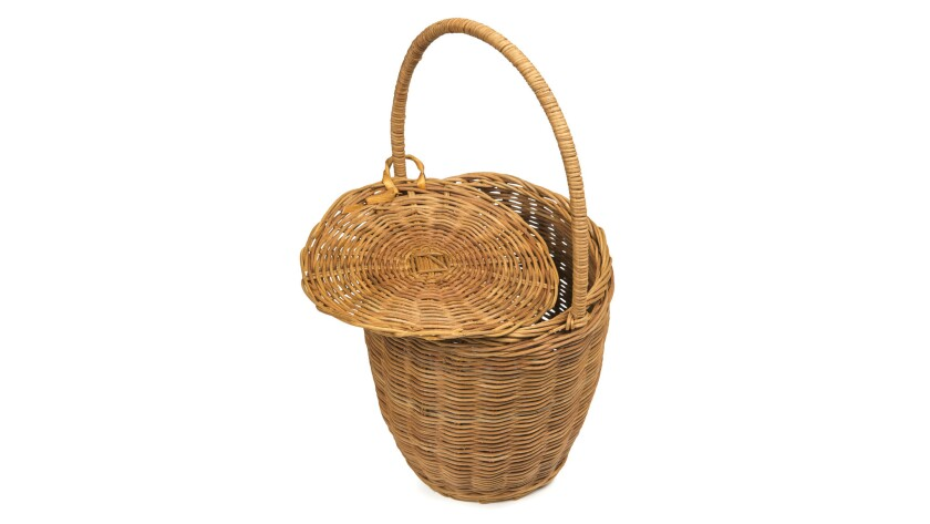 The Doen Tasket Basket is made from 100% rattan and goes easily from day to night, $48. Available at