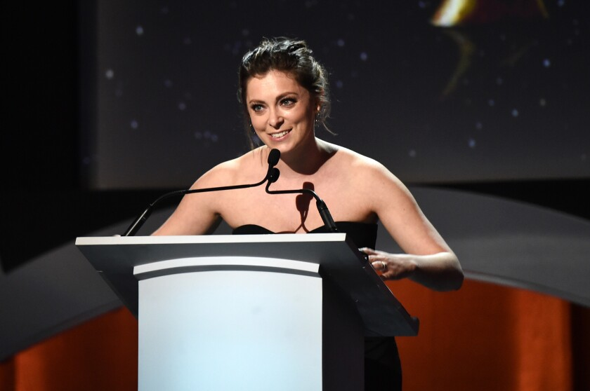 Writer/actress Rachel Bloom speaks onstage during the 2016 Writers Guild Awards at the Hyatt Regency Century Plaza on Feb. 13. She is scheduled to be honored at Tuesday's Los Angeles County Board of Supervisors meeting for her work in promoting West Covina.