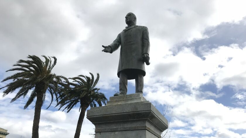 A statue of President William McKinley that has stood in the central plaza in Arcata, Calif., since 1906.