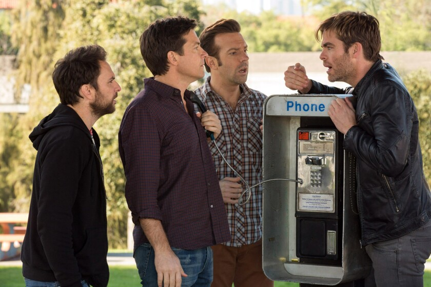 "Charlie Day, left, Jason Bateman, Jason Sudeikis and Chris Pine in ""Horrible Bosses 2."""