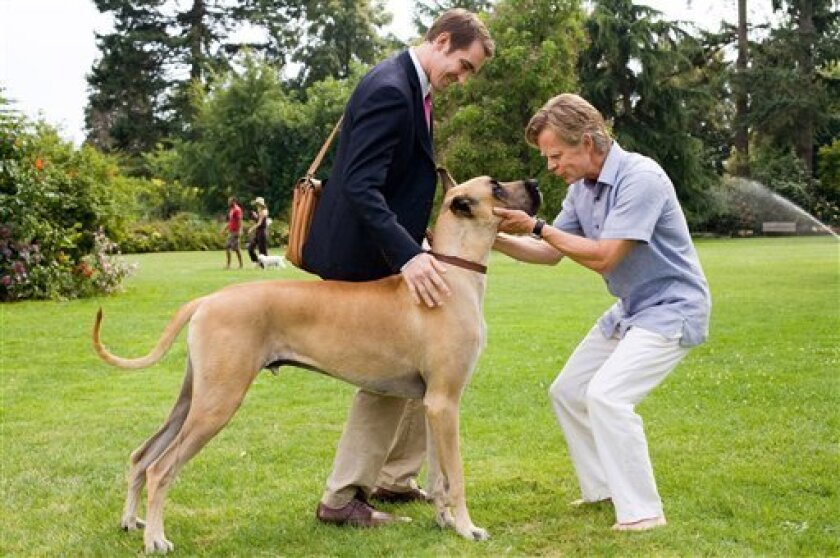 """In this film publicity image released by Fox, Lee Pace, left, William H. Macy and Marmaduke the dog are shown in a scene from, """"Marmaduke."""" (AP Photo/Fox, Joseph Lederer)"""