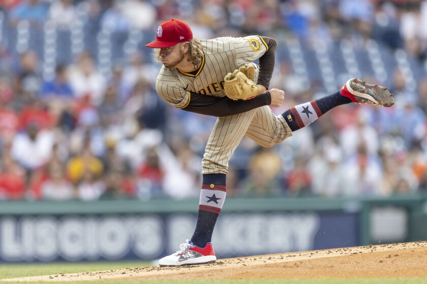 Padres starting pitcher Chris Paddack throws during the first inning of game last Friday in Philadelphia.
