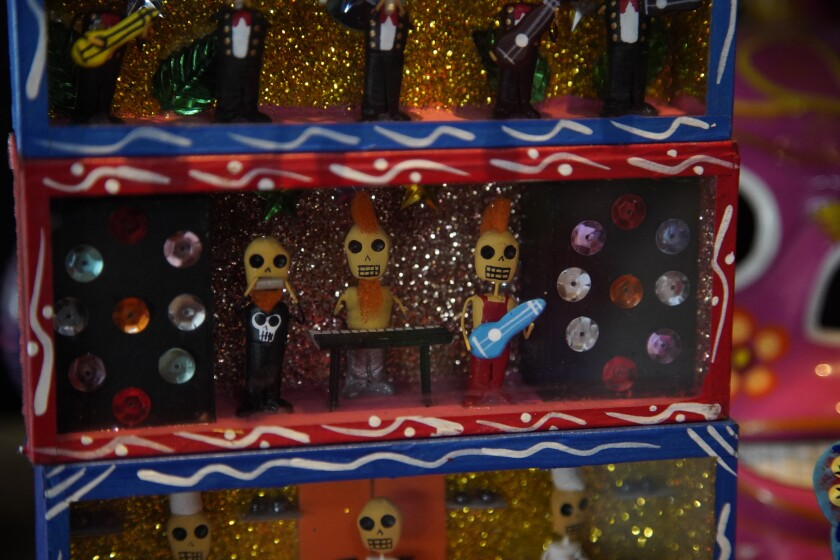 Dioramas on display at Mercado Hidalgo on Oct. 24 in Tijuana, Baja California in preparation of Dia de Muertos.