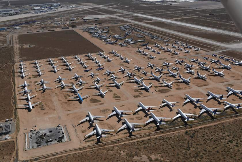 Airplanes in storage at Victorville