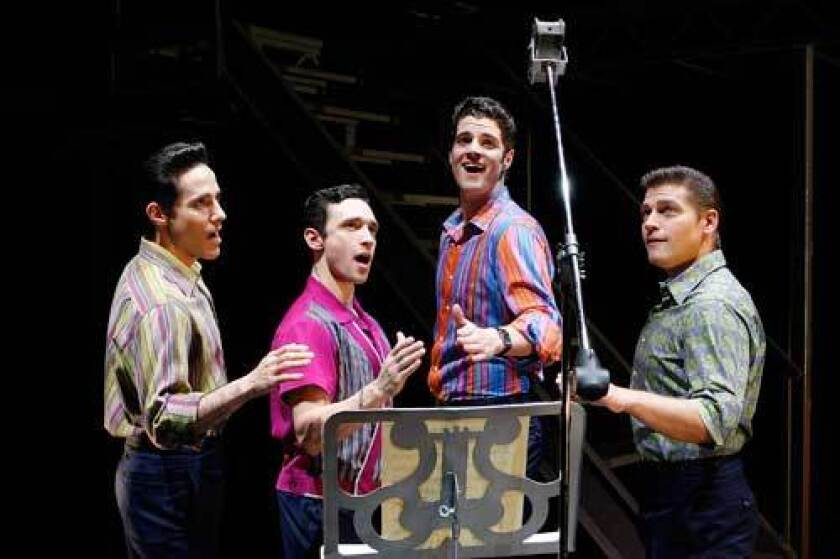 Left to right: Jersey Boys Jeff Leibow, Rick Faugno, Peter Saide and Deven May
