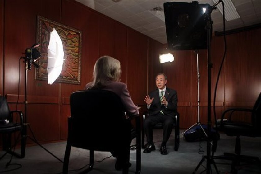 In this June 23, 2009 photo, United Nations Secretary-General Ban Ki-moon speaks during an interview with Associated Press reporter Edith M. Lederer, at U.N. headquarters. Ban, 65, is midway through his five year term. (AP Photo/Bebeto Matthews)