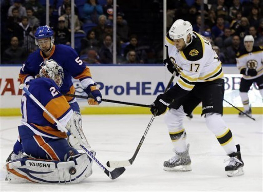New York Islanders goalie Evgeni Nabokov (20) blocks a shot by Boston Bruins left wing Milan Lucic (17) in the first period of their NHL hockey game at Nassau Coliseum in Uniondale, N.Y., Tuesday, Feb. 26, 2013. (AP Photo/Kathy Willens)
