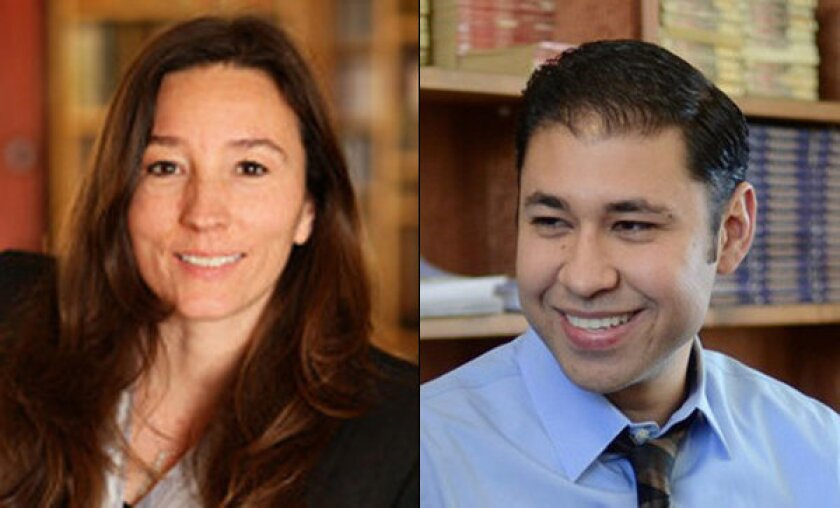 Los Angeles Board of Education candidates Monica Ratliff, left, and Antonio Sanchez are shown.