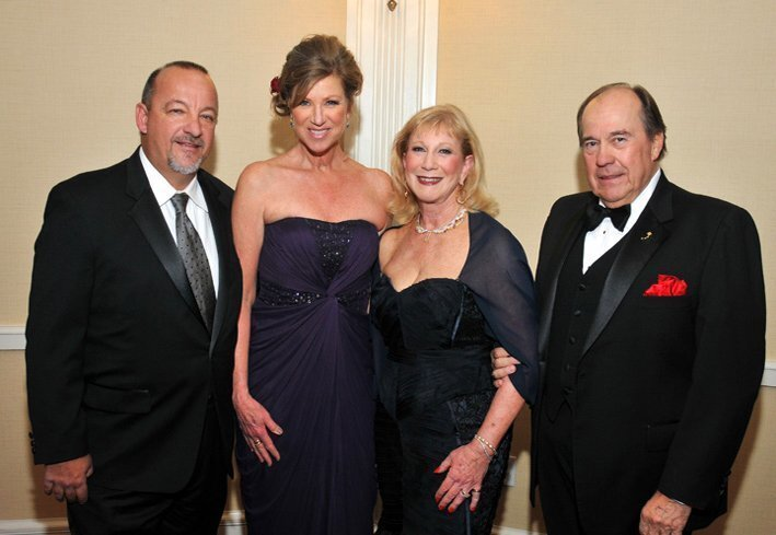 Michael Rossbacher and Kristi Pieper Rossbacher (gala co-chair) with Roxi Link (gala chair) and The Honorable Fred Link. (106th annual Charity Ball, Jan. 31, 2015; Hotel Del Coronado, benefiting Rady Children's Hospital of San Diego)