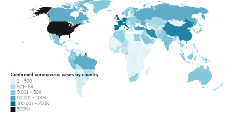 Confirmed COVID-19 cases by country as of 5:30 p.m. PDT Friday, April 17. Click to see the map from Johns Hopkins CSSE.