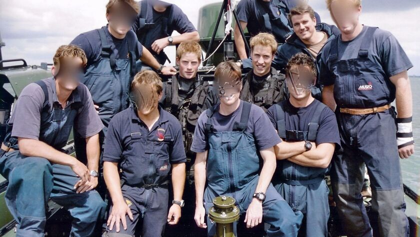 Retired Navy SEAL Ed Hiner served with British Special Forces in 2004. During that time, he met Britain's Princes Harry and William, from left to right in this photo. Hiner is pictured next to William. Other faces are obscured to protect their identity as special operators.