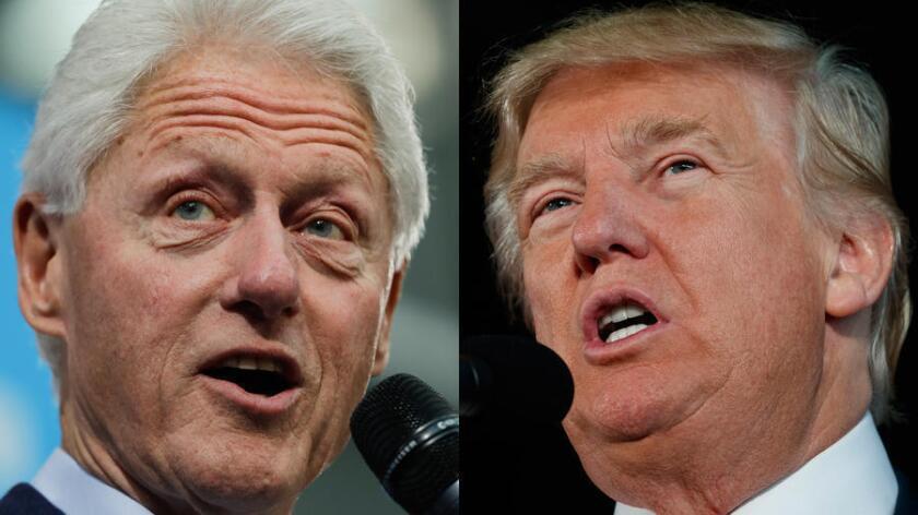 El expresidente Bill Clinton (izquierda) y el candidato presidencial republicano Donald Trump (Evan Vucci / Associated Press; Matt Rourke / Associated Press).