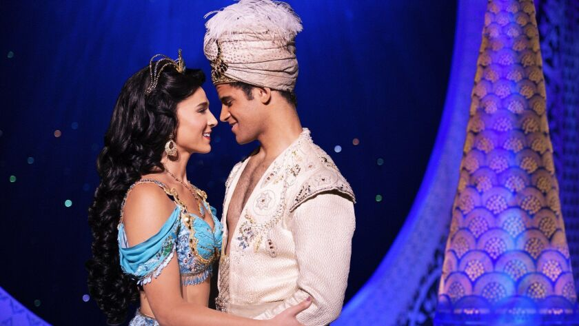 "Lissa deGuzman as Jasmine and Clinton Greenspan as Aladdin in the national touring production of Broadway's ""Aladdin."""