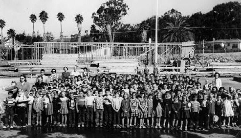 Bird Rock Elementary School students and staff gathered for a photo in 1951. Courtesy: Philomene Offen