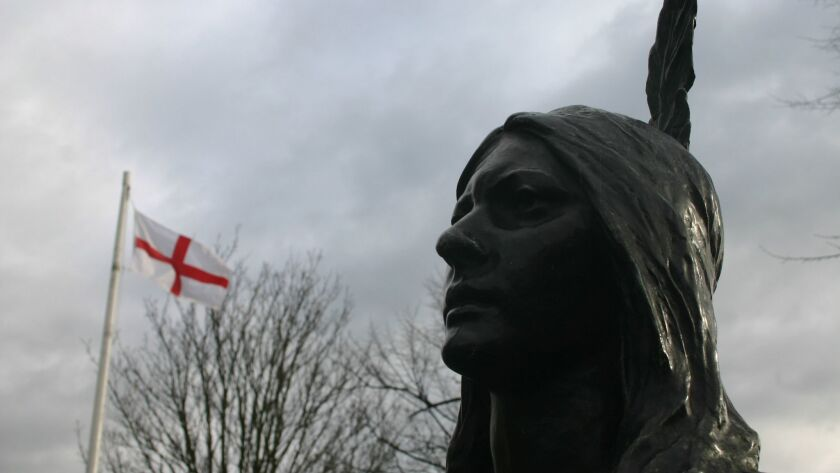 A statue of Pocahontas stands outside St. George's Church in Gravesend, England, where she is buried.