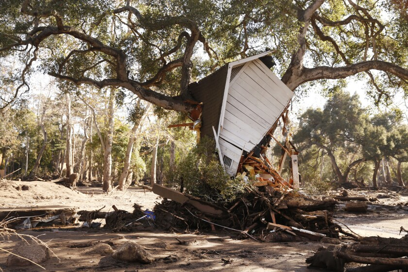 A structure sits in a tree in Montecito during the deadly mudslide of January 2018.