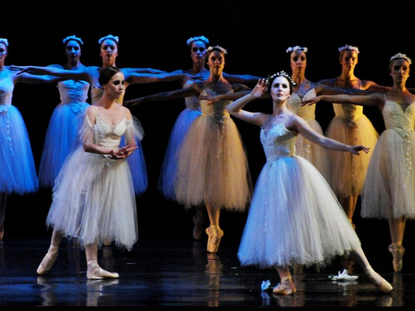 """Giselle pleads with the Wilis spirits to spare Albrecht's life in Act Two of City Ballet of San Diego's 2009 production of """"Giselle."""" The ballet returns to the Spreckels Theatre March 8-10. CREDIT: Chelsea Penyak"""