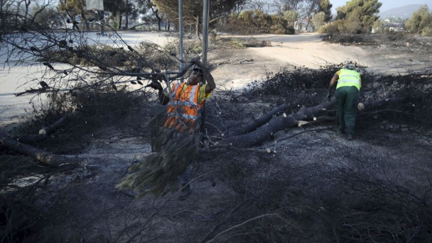 Workers cut the burned trees in Rafina, east of Athens, Wednesday, July 25, 2018. Rescue crews were