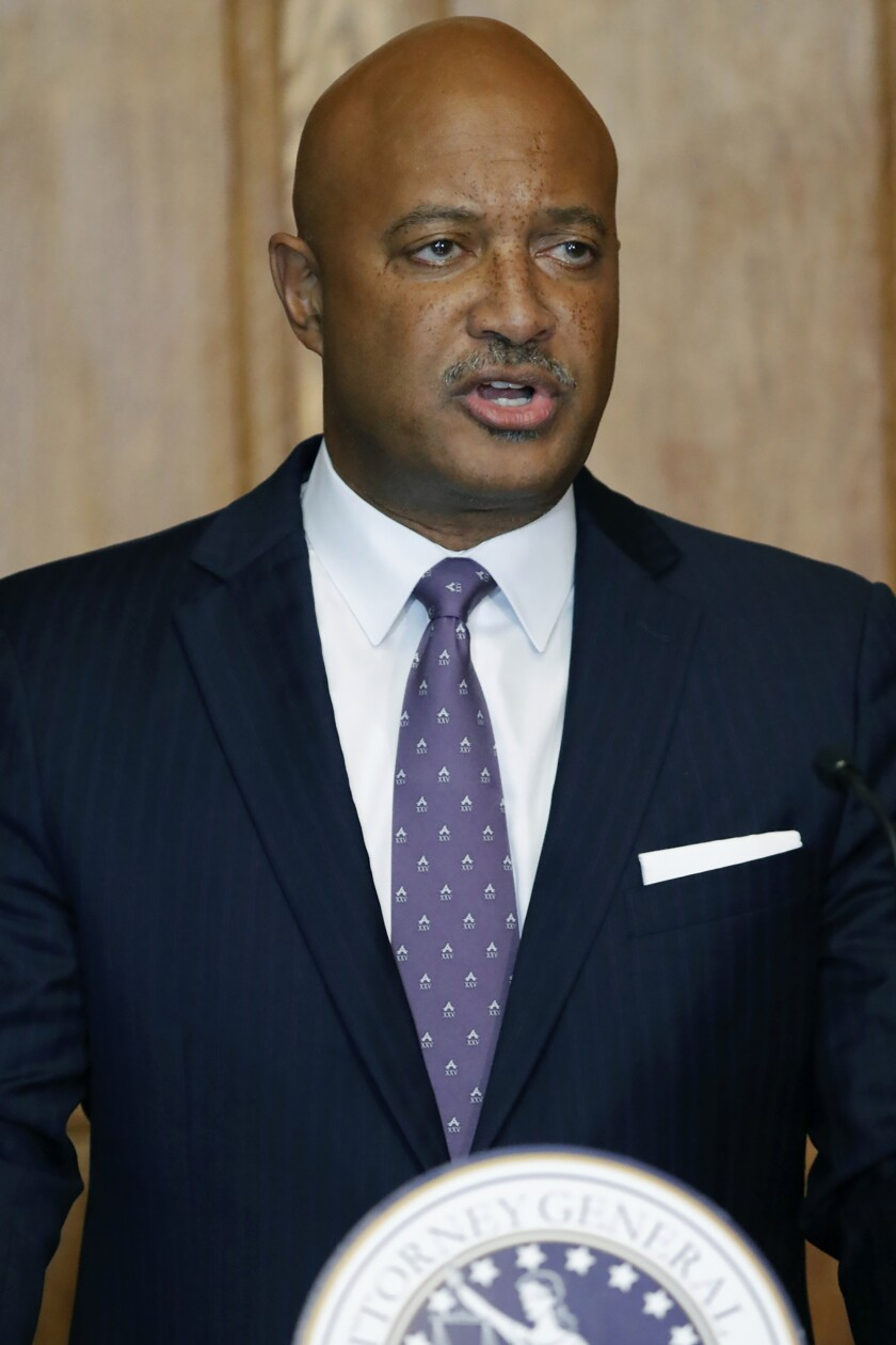 FILE - In this Sept. 20, 2019 file photo, Indiana Attorney General Curtis Hill holds a news conference in Indianapolis, Ind. Hill will hold a news conference Thursday, Oct. 3, 2019 on his office's investigation into more than 2,200 sets of preserved fetal remains found at the Illinois garage of Dr. Ulrich Klopfer, a late doctor who once performed abortions in Indiana. (Michelle Pemberton/The Indianapolis Star via AP, File)