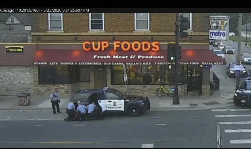 A video image from a distance of George Floyd's arrest outside Cup Foods