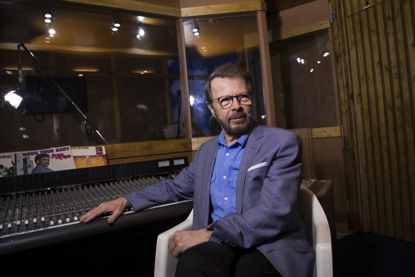 FILE - In this Dec. 13, 2017 file photo, Bjorn Ulvaeus poses for photographers in a recreation of the Polar recording studio in London. ABBA's Bjorn Ulvaeus talks exclusively to AP on UNICEF's International Day of the Girl Child about the challenges girls face and promoting girl's empowerment. (Photo by Vianney Le Caer/Invision/AP, File)