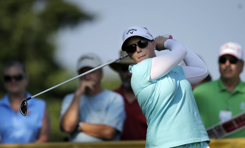 Morgan Pressel hits a tee shot on the 12th hole during the first round of the ShopRite LPGA Classic golf tournament, Friday, May 29, 2015, in Galloway Township, N.J. (AP Photo/Mel Evans)
