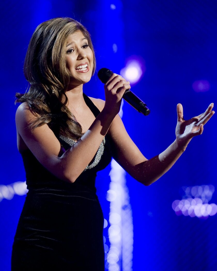 Miss California Arianna Asfar sings for the judges during the preliminary talent competition of the Miss America pageant in Las Vegas this week.