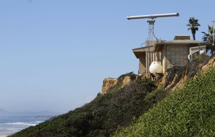The radar device that was installed at Ponto Beach in south Carlsbad to help crack down on drug and immigrant smuggling.