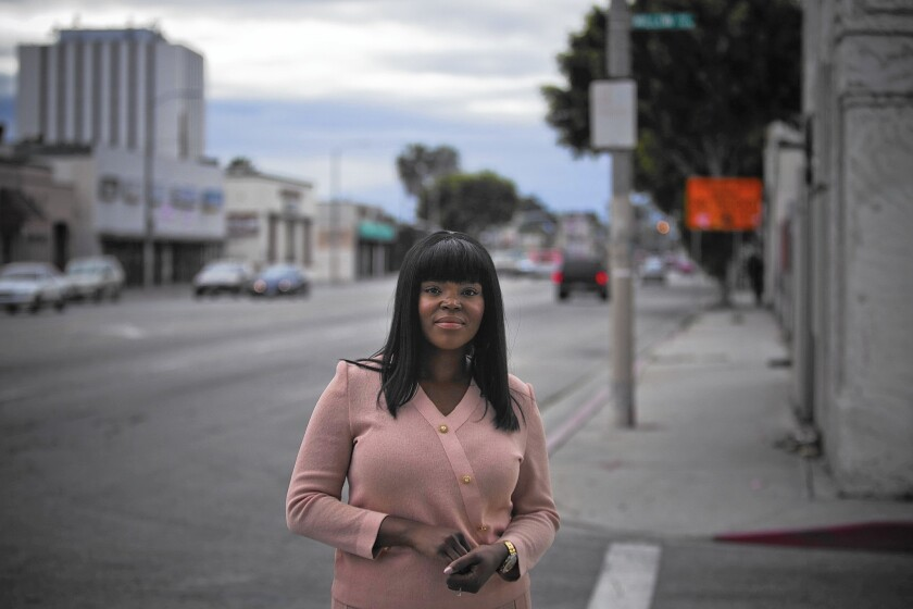 Mayor Aja Brown in downtown Compton. The city recently was ranked by a nonpartisan think tank as the most financially distressed city in California.