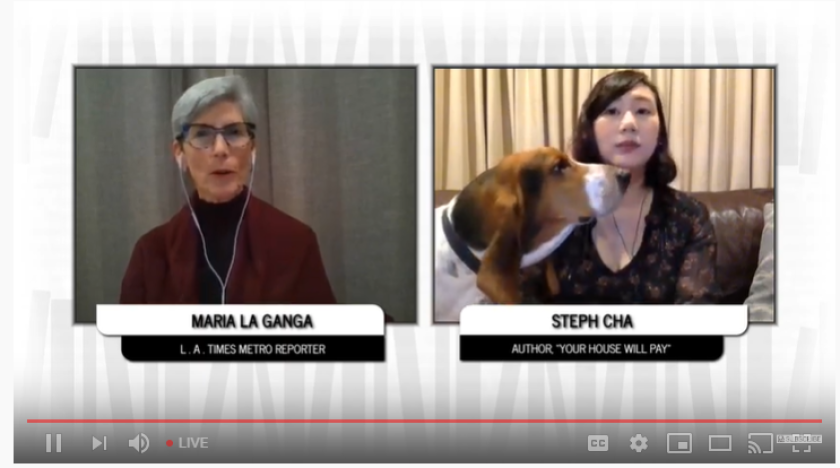 Maria L. La Ganga, left, talks with Steph Cha at L.A. Times Book Club's virtual event. Cha's basset hound, Milo, chimed in.
