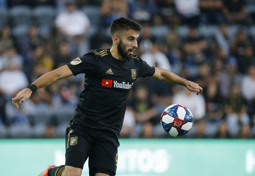 Los Angeles FC forward Diego Rossi controls the ball during a match against the Portland Timbers on July 10.