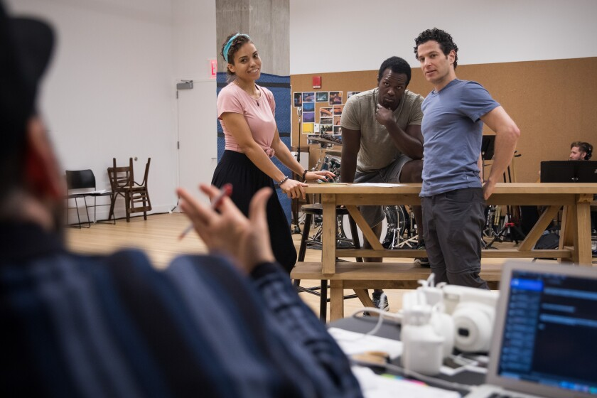 From left, Ross Golan, cast members Ciara Renee and Joshua Henry, and director Thomas Kail