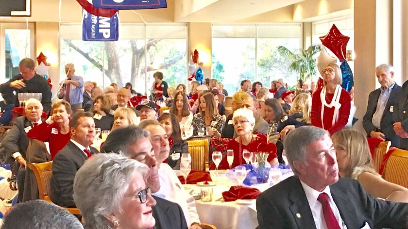Red, white and blue were dominant colors as predominantly RepublicanTrump swearing-in watchers eyed various TV monitors placed around the room at Fairbanks Country Club in Rancho Santa Fe.