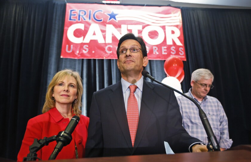House Majority Leader Eric Cantor (R-Va.) delivers his concession speech in Richmond on Tuesday.