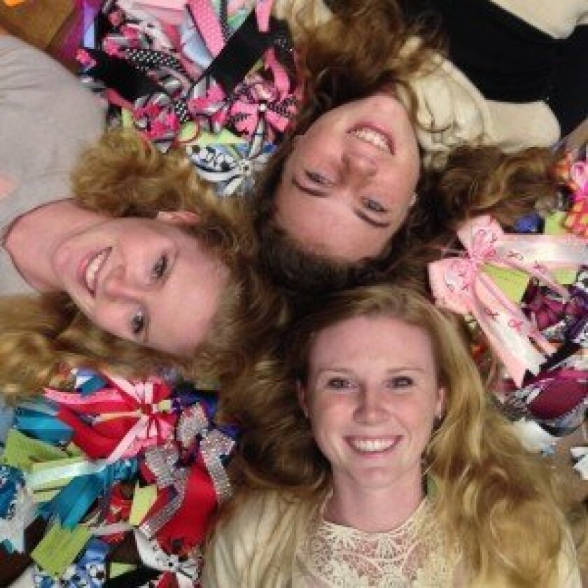 Clockwise from top: Jillian, Savanah, and Mikayla with their Ballerina Bows.