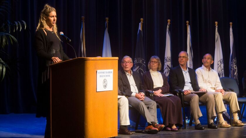 April Ross speaks during her induction into New Port Harbor High School's Hall of Fame Thursday even