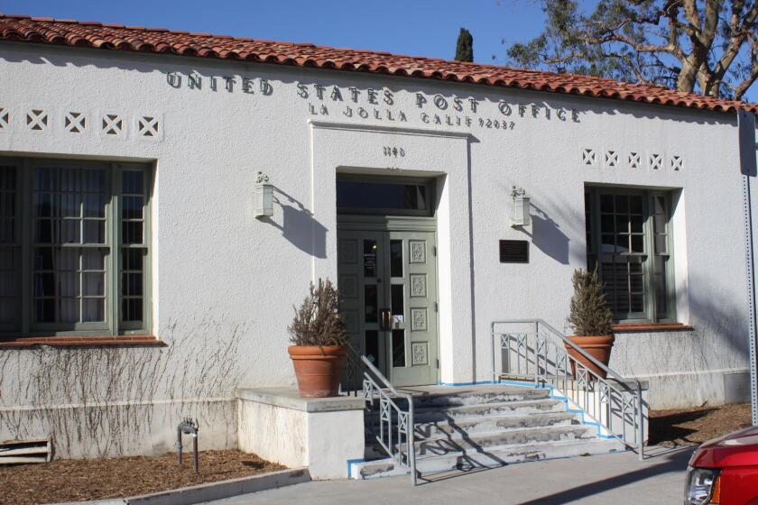 At 9 a.m. Tuesday, March 20, 2018, the La Jolla Post Office, 1140 Wall St., will be awarded a plaque citing its placement on the National Register of Historic Places by the U.S. Department of the Interior.