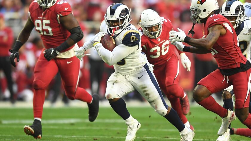 Rams running back C.J. Anderson, signed by the Rams last week, rushes for 167 yards and a touchdown in 20 carries against Arizona as the Rams bounce back from two consecutive defeats and improve to 11-4.