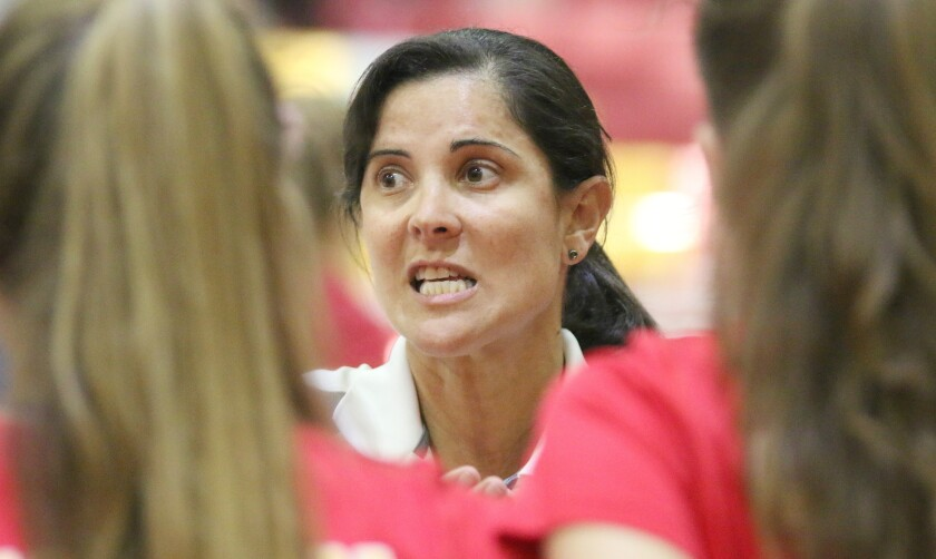 Head Coach Juliana Evens of Cathedral Catholic.
