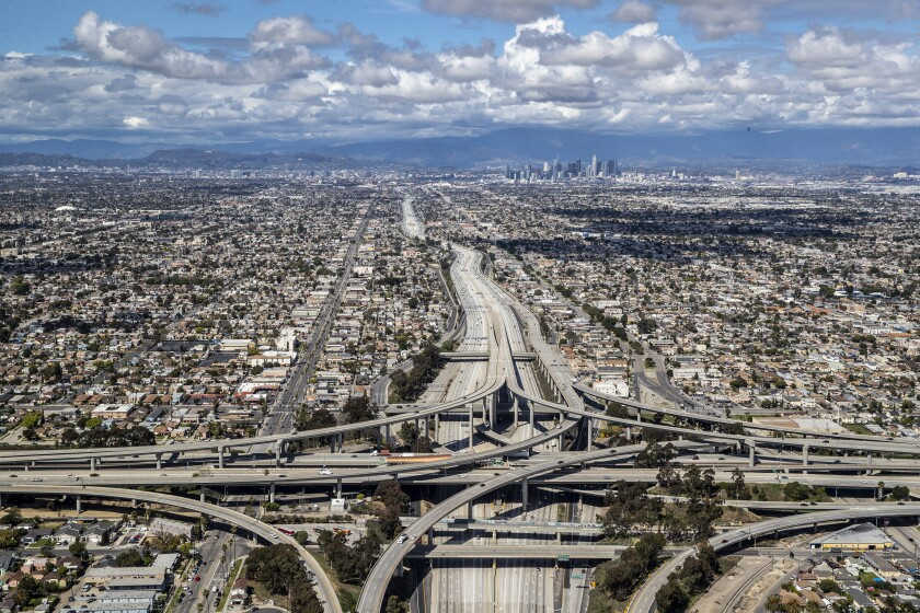 In the time of Coronavirus this is an aerial view of 110 and 105 interchange in Los Angeles.