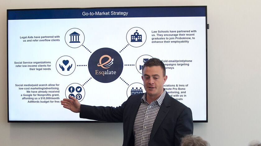 Chad Trainer of Santa Ana-based Esqalate pitches his idea to a judges panel during UC Irvine's third