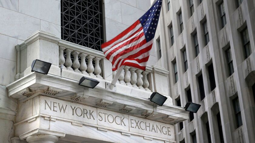 A flag flies from the New York Stock Exchange.