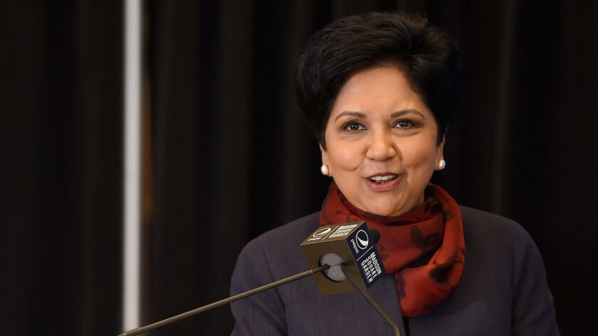 Indra Nooyi speaks at Madison Square Garden in New York on July 24.